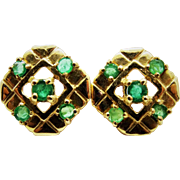 Stylish Emerald 14K Yellow Gold Post Earrings Fine Estate