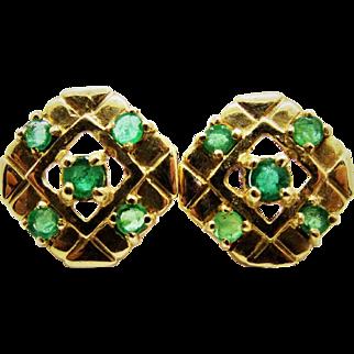Stylish Emerald 14K Yellow Gold Post Earrings Fine Estate