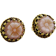 Attractive Carved Shell Cameo Flower 14K Yellow Gold Post Earrings Fine Vintage