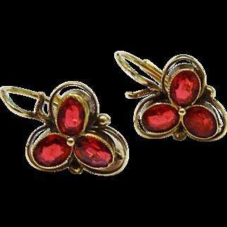 Precious Garnet 14K Yellow Gold Drop Earrings Lever-back Fine