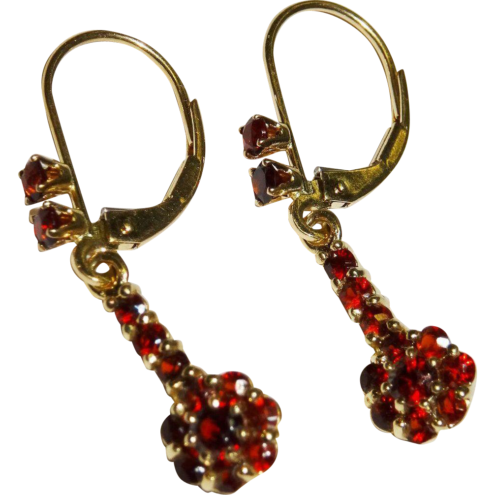 garnet cluster 14k gold drop earrings vintage from