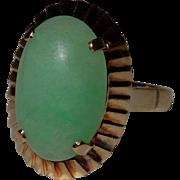 Glorious Vintage Jadeite Jade 14K Gold Ring Fine