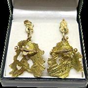 MaceField 14K Yellow Gold Modernist Post Dangle Earrings Fine