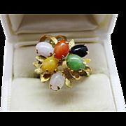 Fabulous Multi-Color Jadeite Jade 14 K Yellow Gold Cluster Ring Fine Vintage