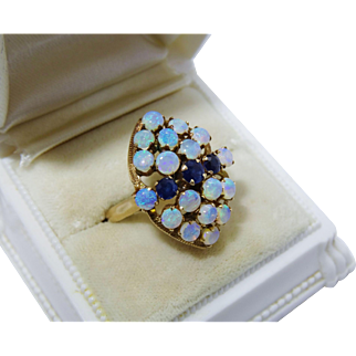 Radiant Opal Sapphire 14K Yellow Gold Cluster Ring Fine Vintage