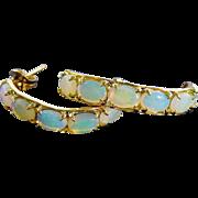 Shimmering 14K Yellow Gold Fiery Opal Hoop Earrings Fine Vintage