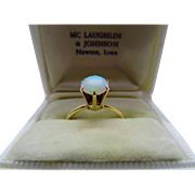 Radiant Opal 14K Yellow Gold Solitaire Ring Fine Vintage Tiffany Setting