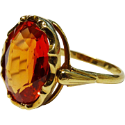 14K Gold Orange Sapphire Ring Fine Awesome