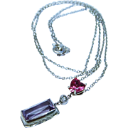 Elegant Pink Sapphire Heart Diamond Amethyst 14K White Gold Pendant with Chain Necklace Fine