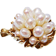 14K Yellow Gold Cultured Pearl Cluster Pendant Fine