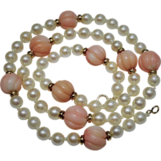 14K Gold Akoya Cultured Pearl Carved Coral Bead Necklace Fine