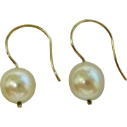 Lovely 14K Y G Cultured Saltwater Akoya Pearl drop Earrings Fine