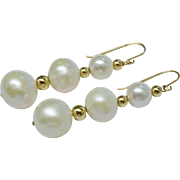 Glamorous 14K YG Graduated Cultured Pearl Drop Earrings Fine