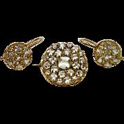 Beautiful 14K Yellow Gold Quartz Cluster Earrings Pin Set Filigree Vintage