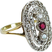 Elegant Art Deco Diamond Ruby 14K WG YG Cut-Out Ring Fine