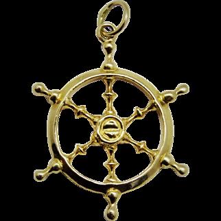 Handsome 14K Yellow Gold Ship's Wheel Pendant Vintage Fine