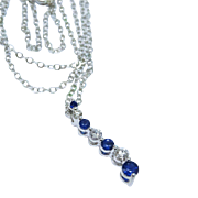 Heavenly Diamond Sapphire 14K White Gold Journey Pendant Chain Fine