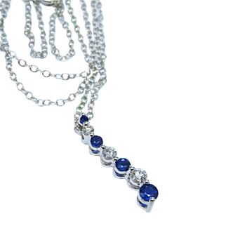 Heavenly Diamond Sapphire 14K White Gold Journey Pendant Chain Fine