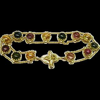 Fabulous Tourmaline Cabochon 14K Yellow Gold Link Bracelet Fine