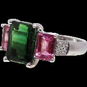 Intriguing Tourmaline Diamond 14K White Gold Trio Ring Fine