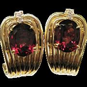 Magnificent Rubellite Tourmaline 14K Gold Huggie Earrings Fine