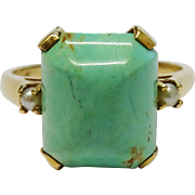 Gorgeous Turquoise Cultured Pearl 14K YG Ring Fine