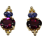 Gorgeous 14K Gold Tanzanite Rubellite Tourmaline Earrings Fine