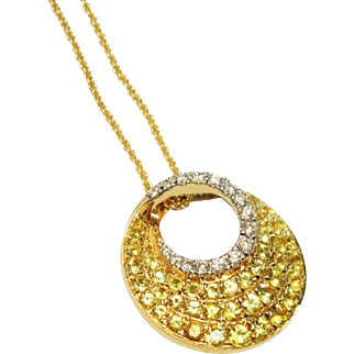 Gorgeous Diamond Yellow Sapphire Pave 14K Gold Swirl Pendant and Chain Fine