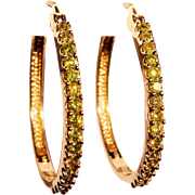 Sensational Yellow Diamond 14K Yellow Gold Hoop Earrings Fine