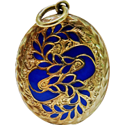 Victorian 15K Gold Chased Enamel Locket Fine