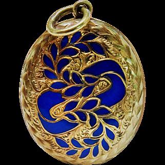 Victorian 15K Gold Chased Enamel Locket Fine