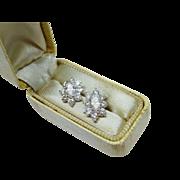 Sparkling Diamond Halo 18K White Gold Stud Earrings Fine