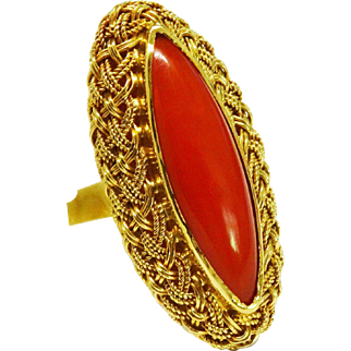 Outstanding Oxblood Red Coral 18K Yellow Gold Ring Very Fine