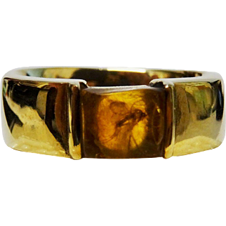 18K Yellow Gold Amber Ring Fine Vintage Insect Trapping Awesome