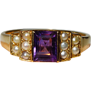 Lovely 18K Gold Amethyst Seed Pearl Ring Fine