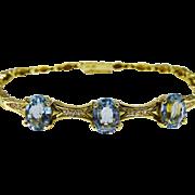 Elegant 18K Gold Diamond Blue Topaz Bracelet Fine Vintage