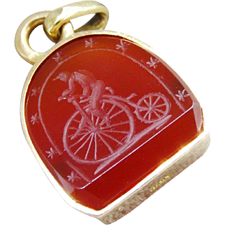 Superb Antique 18K Yellow Gold Carnelian Carved Bicycle Fob Pendant Fine