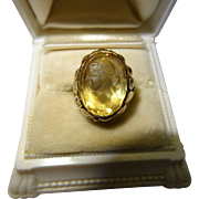 Antique Citrine Cameo 18K Yellow Gold Ring Art Nouveau Fine Carved
