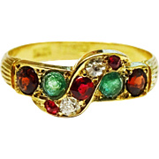 Antique Diamond Ruby Emerald 18K Gold Ring Fine