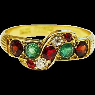 Antique Diamond Ruby Emerald 18K Gold Ring Fine