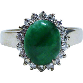Diamond Jade Jadeite 18K White Gold Halo Ring Fine Gorgeous