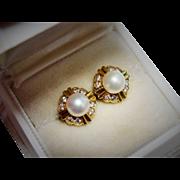 Diamond Pearl 18K Yellow Gold Stud Earrings Fine Gorgeous