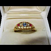 Edwardian Diamond Ruby Sapphire 18K Yellow Gold Ring Fine 5 Stone Patriotic Antique