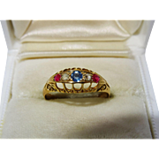 Edwardian Diamond Ruby Sapphire 18K Yellow Gold Ring Fine 5 Stone Patriotic Antique