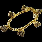 Estate 18K Gold Sapphire Charm Bracelet Purse Charms Fine