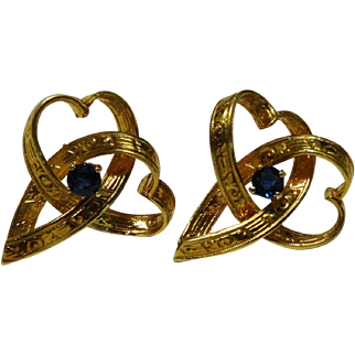 18K Yellow Gold Sapphire Heart Earrings Embossed Fine