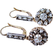 Shimmering Antique Diamond Cluster 18 K Yellow Gold Silver Drop Earrings Fine Rose-Cut