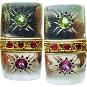 Awesome Ruby Tourmaline Sterling Silver 18K Yellow Gold Cuff Earrings
