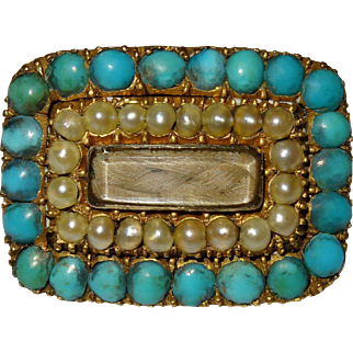 Early Victorian 18K Gold Turquoise Natural Pearl Memorial Hair Locket Pin Fine