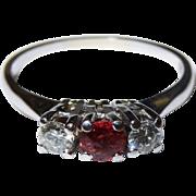 Elegant Diamond Ruby 18K White Gold Trio Ring Vintage Three Stone Fine